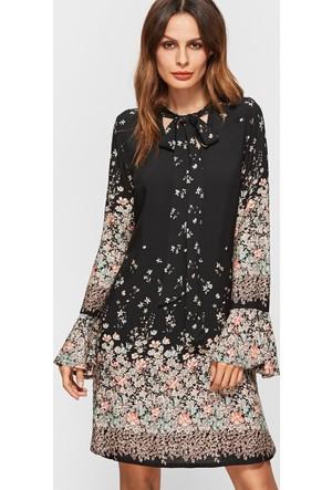 Yok Yok Siyah Çiçek Desenli Kravat Boyun Elbise