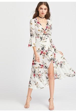 Yok Yok Bej Çiçekli Kolları Volanlı Elbise