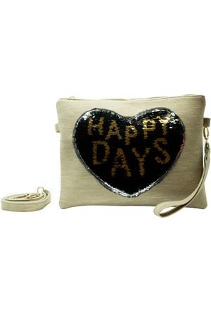 İntenin Bej Happy Days Pullu El Çantası