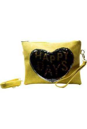 İntenin Sarı Happy Days Pullu El Çantası