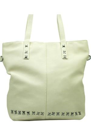 İntenin Metal Detaylı Beyaz Büyük Bavul Tipi Çanta