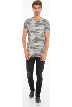 Collezione Erkek T-Shirt Kısa Kol Bottem Gri Melanj