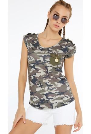 FullaModa Kamuflaj T-Shirt 17YDVN0019