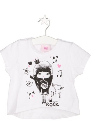 Tuc Tuc Gitar Çalan Kız T-shirt You Rock Beyaz
