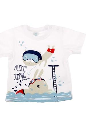 Tuc Tuc Erkek Çocuk Baskılı T-shirt Jumping Swim Beyaz