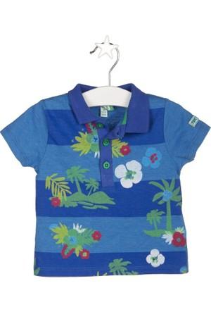 Tuc Tuc Geniş Çizgili Polo T-shirt Isla Bonita Saks - Mavi Çizgili