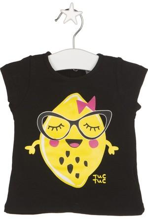 Tuc Tuc Limon Baskılı T-shirt Crazy Lemons Siyah