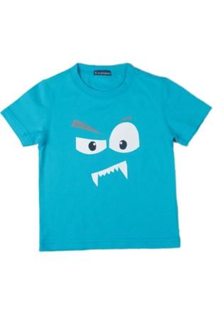 Karamela Erkek Çocuk T-shirt Canavar Baskı Turkuaz
