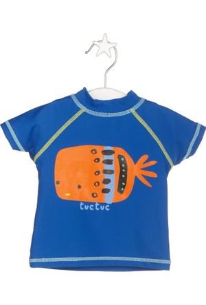 Tuc Tuc Çocuk UV Korumalı T-shirt Mayo Fresh Saks Desenli