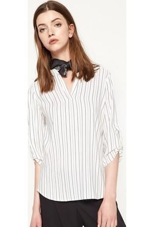 Koton Kadın Çizgili Bluz Beyaz