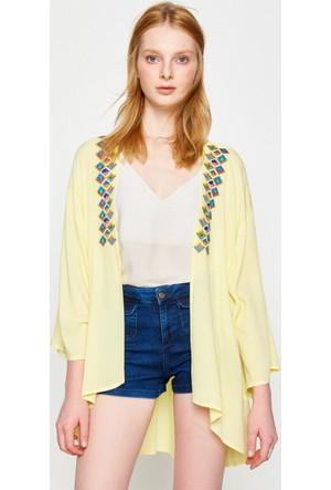 Koton Kadın Desenli Ceket Sarı