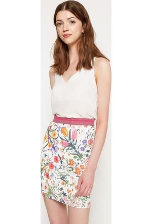 Koton Kadın Çiçekli Etek Beyaz