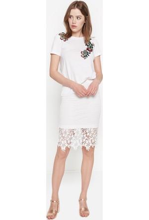 Koton Kadın Dantel Detaylı Etek Beyaz
