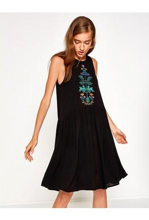 Koton Kadın İşlemeli Elbise Siyah
