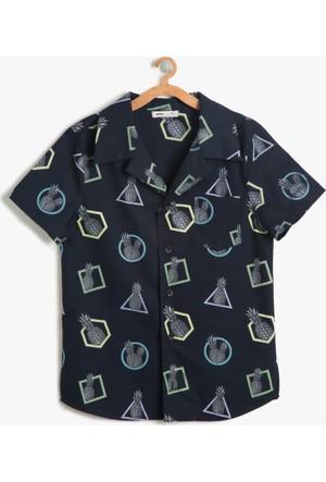 Koton Erkek Çocuk Ananas Desenli Gömlek Siyah