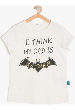 Koton Kız Çocuk Batman Baskılı T-Shirt Ekru