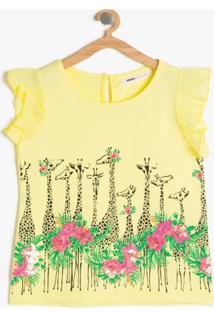 Koton Kız Çocuk Baskılı T-Shirt Sarı