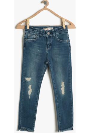 Koton Kız Çocuk Yırtık Jean Pantolon Mavi