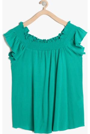 Koton Kız Çocuk Fır Fır Detaylı Bluz Yeşil