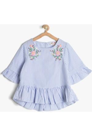 Koton Kız Çocuk İşlemeli Bluz Mavi