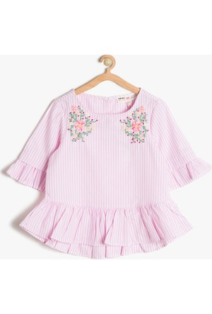Koton Kız Çocuk İşlemeli Bluz Pembe