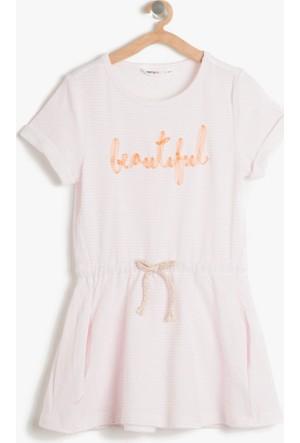 Koton Kız Çocuk Çizgili Elbise Pembe