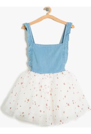 Koton Kız Çocuk Tütülü Jean Elbise Mavi