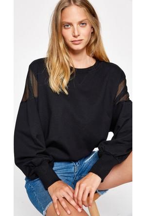 Koton Kadın Omuz Detaylı Sweatshirt Siyah