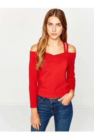 Koton Kadın Omzu Açık Sweatshirt Kırmızı