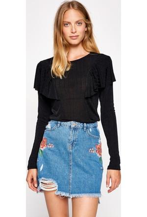Koton Kadın Fırfır Detaylı Sweatshirt Siyah