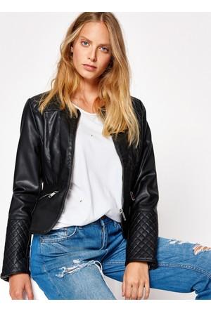 Koton Kadın Deri Görünümlü Ceket Siyah