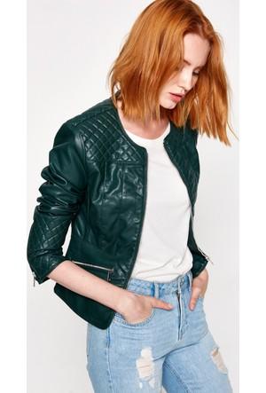 Koton Kadın Deri Görünümlü Ceket Yeşil