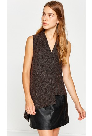 Koton Kadın V Yaka Bluz Kahverengi