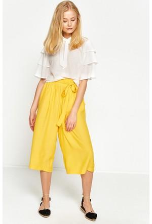 Koton Kadın Beli Bağlamalı Pantolon Sarı