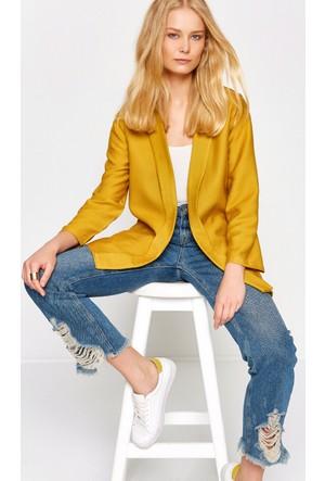 Koton Kadın Beli Bağlamalı Ceket Sarı