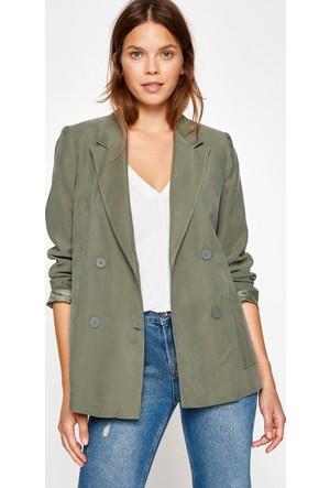 Koton Kadın Düğme Detaylı Ceket Yeşil