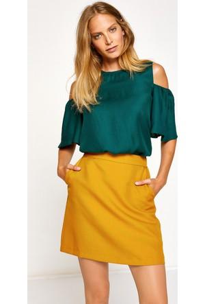 Koton Kadın Cep Detaylı Etek Sarı