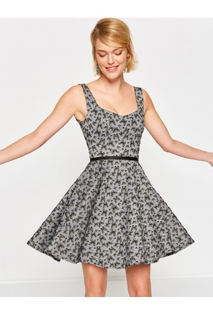 Koton Kadın Çiçekli Elbise Gri