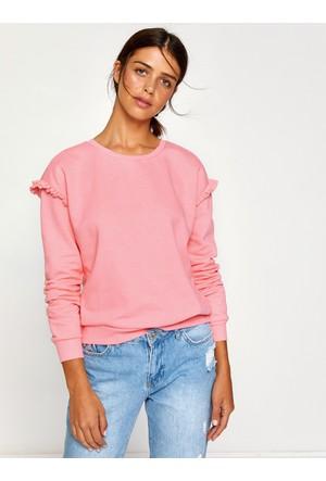 Koton Kadın Fırfır Detaylı Sweatshirt Pembe