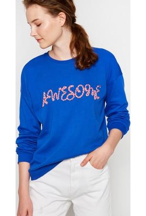 Koton Kadın Yazılı Baskılı Sweatshirt Mavi