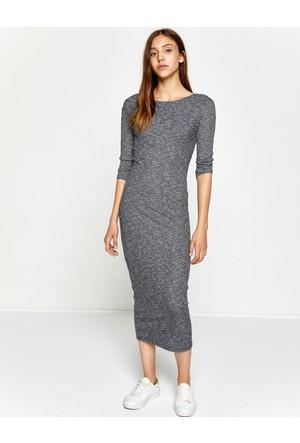 Koton Kadın Kayık Yaka Elbise Gri