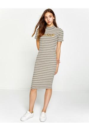 Koton Kadın Çizgili Elbise Ekru