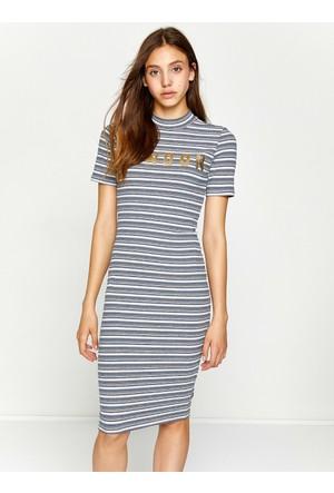 Koton Kadın Çizgili Elbise Lacivert