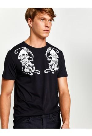 Koton Erkek Baskılı T-Shirt Siyah