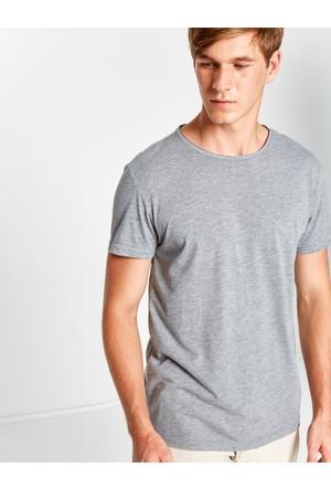 Koton Erkek Bisiklet Yaka T-Shirt Gri