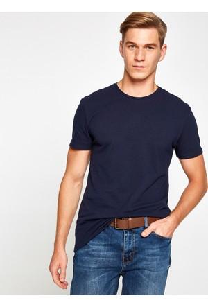 Koton Erkek Bisiklet Yaka T-Shirt Lacivert