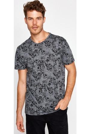 Koton Erkek Baskılı T-Shirt Gri