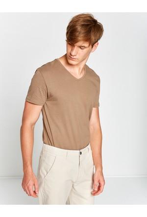 Koton Erkek V Yaka T-Shirt Kahverengi