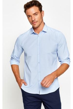 Koton Erkek Desenli Gömlek Mavi