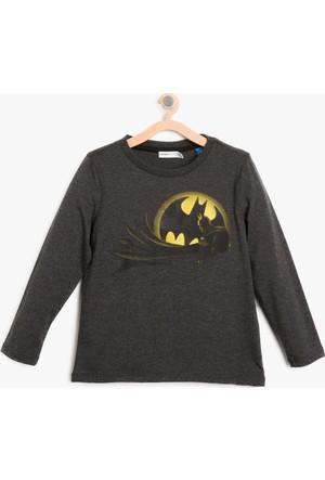 Koton Erkek Çocuk Batman Baskılı Sweatshirt Gri